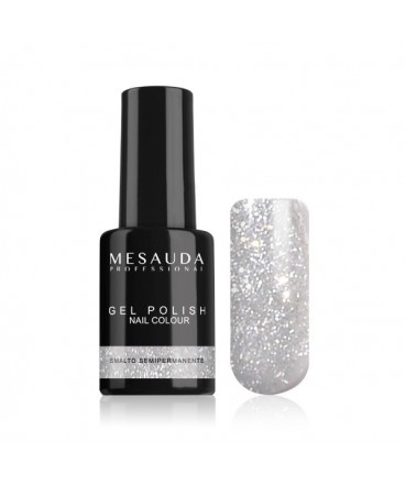MESAUDA - GEL POLISH Nail Colour 5 ml - Smalto Semipermanente - Glitter Argento 336047 Mesauda